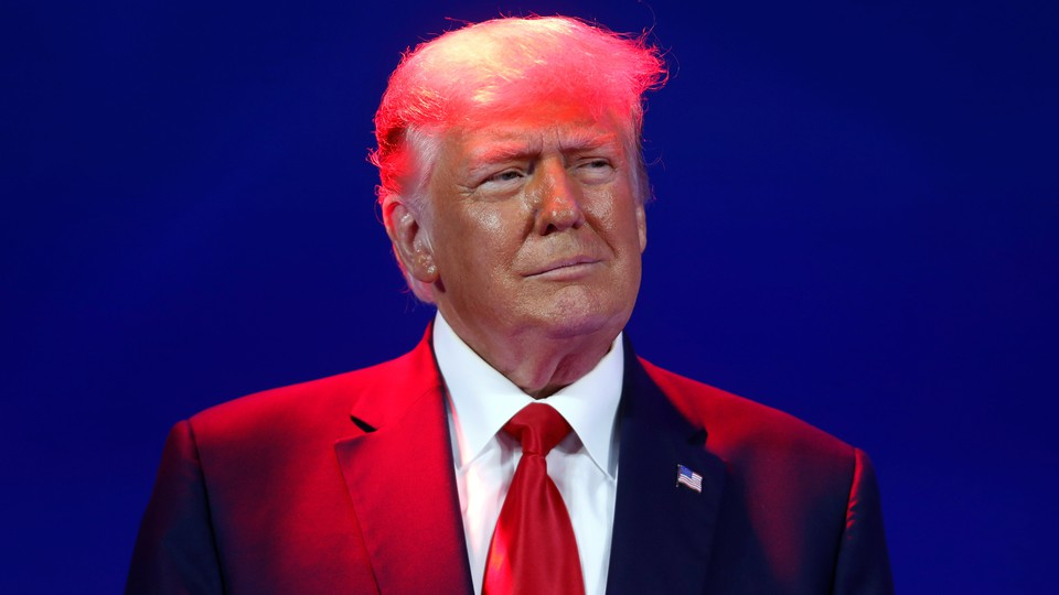 A photograph of Donald Trump at the 2021 Conservative Political Action Conference.