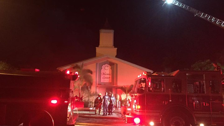 Firefighters respond to a fire set at the Islamic Center of Fort Pierce.