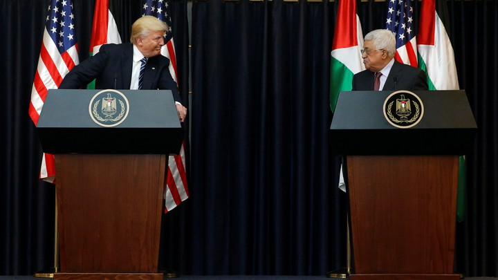 President Trump and Palestinian President Mahmoud Abbas deliver remarks after their meeting at the Presidential Palace in the West Bank city of Bethlehem on May 23, 2017.