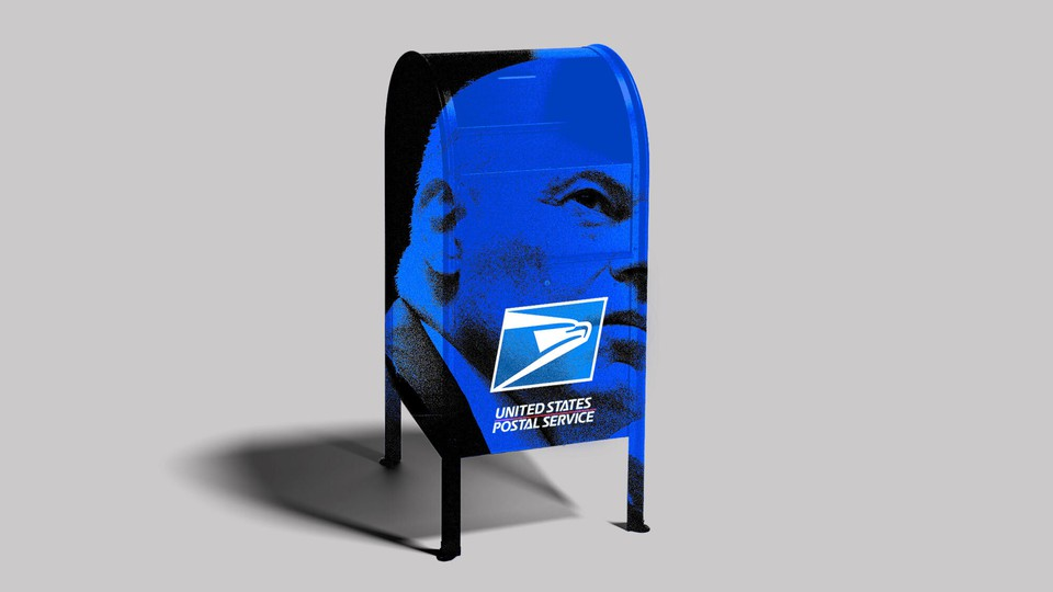Art of a photo of Louis DeJoy superimposed on a USPS mailbox.