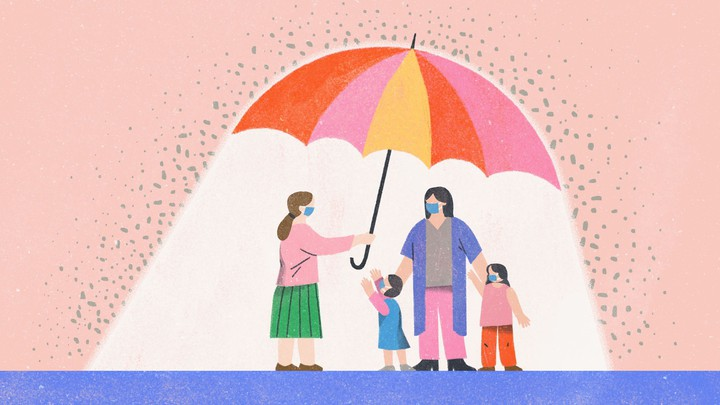 Illustration of a woman holding a giant umbrella over another woman and her two kids. One of the kids is reaching out toward the woman holding the umbrella.