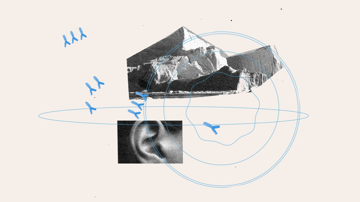Illustration of ice bergs, an ear, and blue circles