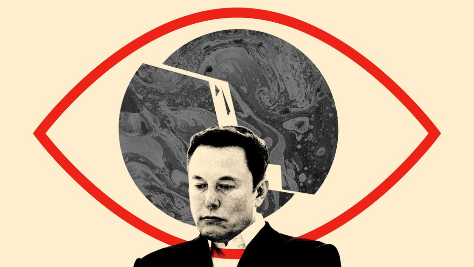 Elon Musk in front of a fractured photo of a planet