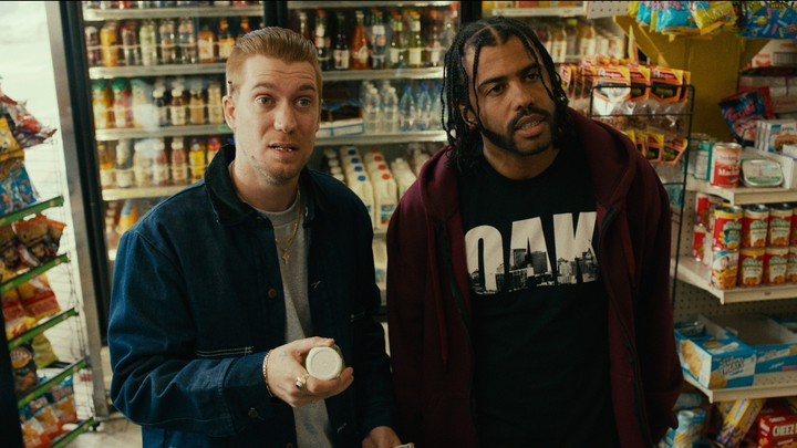 Rafael Calas and Daveed Diggs as Miles and Collin in 'Blindspotting'