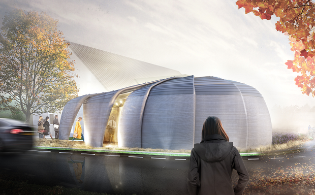 Architect's rendering of a futuristic small building with petal-like concrete walls.