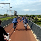 A cycling superhighway connects Arnhem and Nijmegen in the Netherlands.