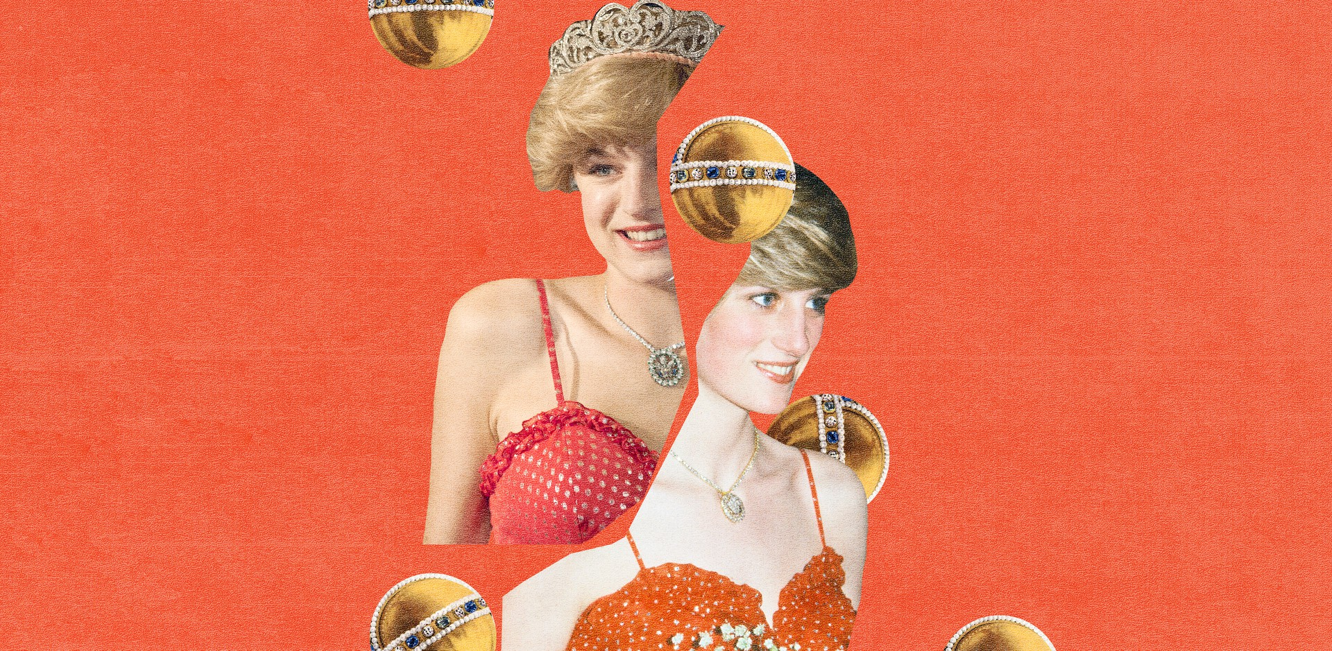 A collage of Diana, Princess of Wales, and Emma Corrin, the actress who plays her in The Crown