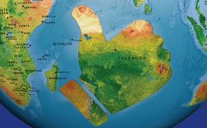 """A map of a globe with a large landmass shaped like Facebook's """"Like"""" thumbs-up sign off the coast of Africa"""