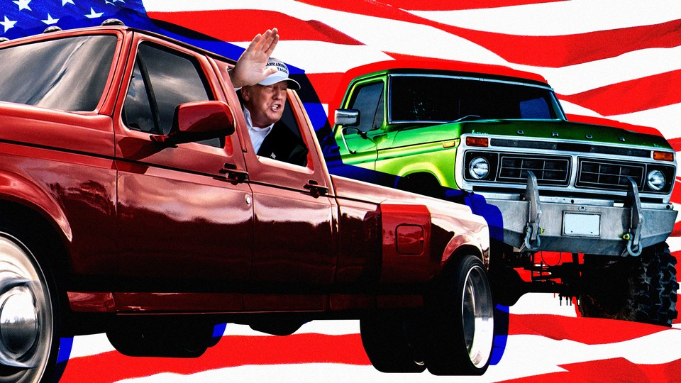 A collage of President Trump waving from the window of a large pickup truck against an American flag backdrop