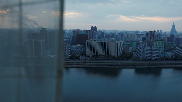 City center and Taedong River are seen from a room of a hotel hosting foreign reporters in Pyongyang, North Korea, on April 17.