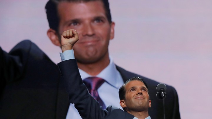 Donald Trump Jr. thrusts his fist after speaking at the 2016 Republican National Convention in Cleveland