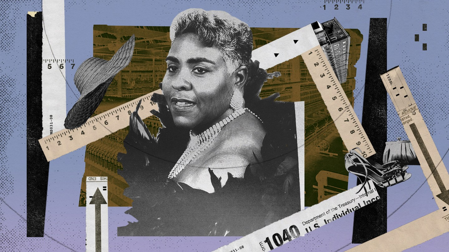 A photo illustration with a fashionable woman, measuring tape, a factory, and clothing items