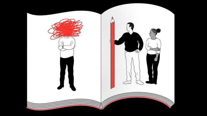 An illustration of a scrapbook: A man holding a giant red pencil stands next to a woman on one page. A man stands alone on the other page; his head is obscured by red scribbles.