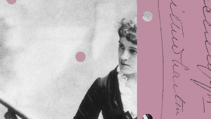 A photo illustration of Edith Wharton overlaid with handwriting
