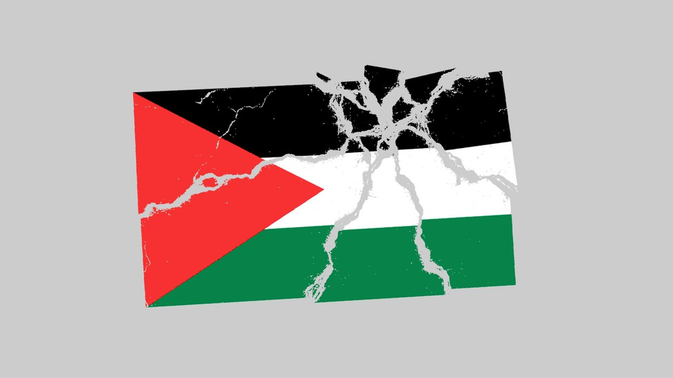 An illustration of a shattered Palestinian flag