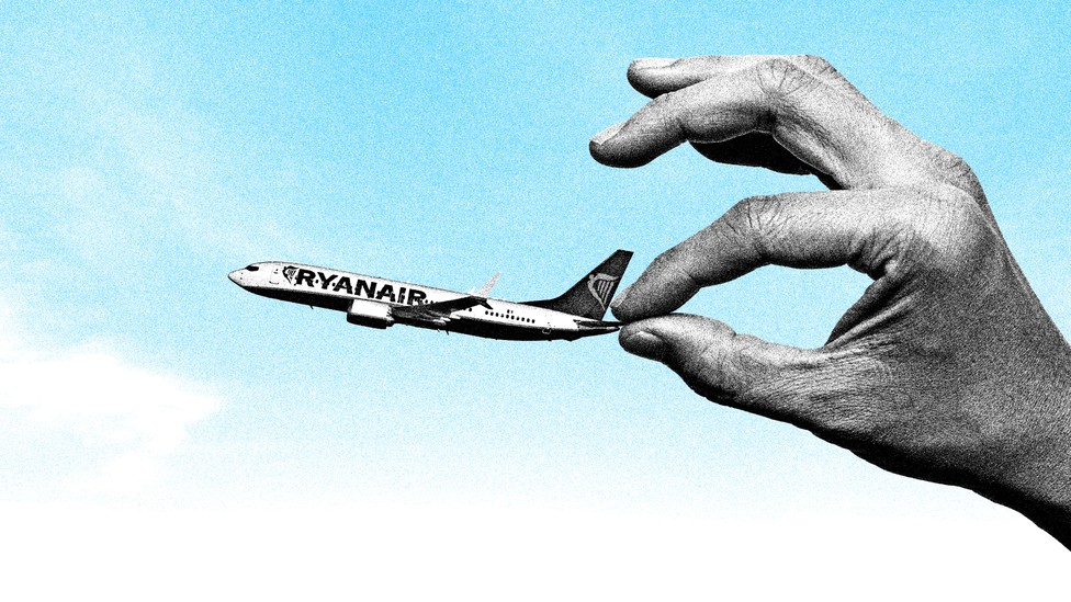 An illustration of a hand holding a Ryanair plane