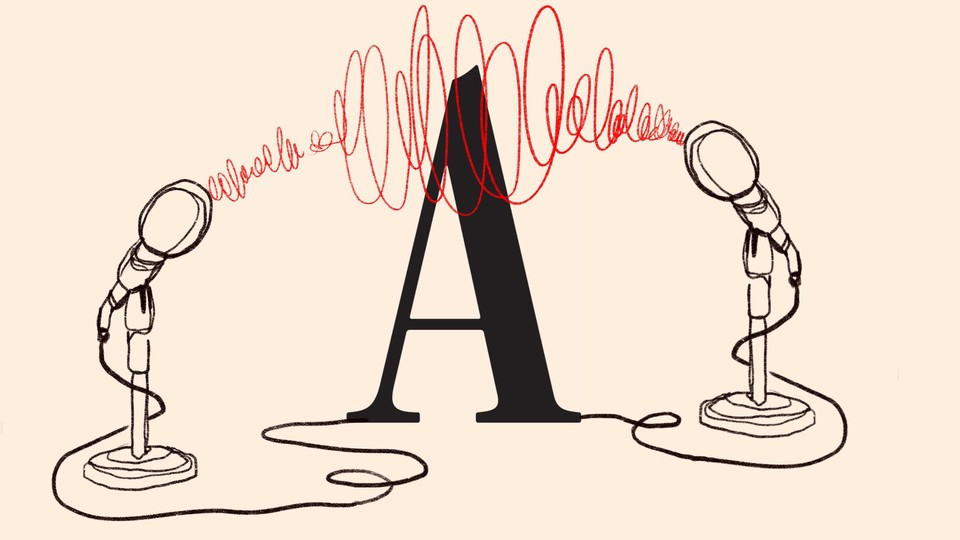 """An illustration of the Atlantic """"A"""" with a microphone on each side"""