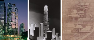 Three images of built and unbuilt work by Modernist architect Paul Rudolph for Hong Kong.