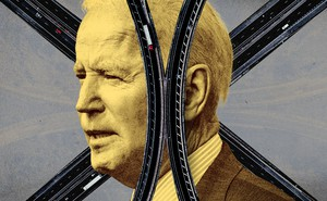 President Joe Biden with roads behind him and across his face