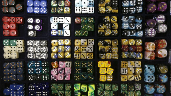 Multicolor dice arranged in squares