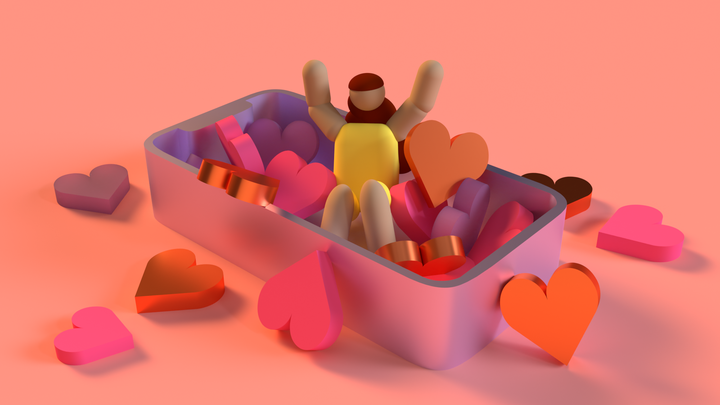 Cartoon girl sitting in a pile of hearts, inside the shell of a smartphone.