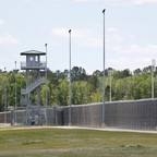 A guard tower at the Lee Correctional Institution in Bishopville, Lee County, South Carolina