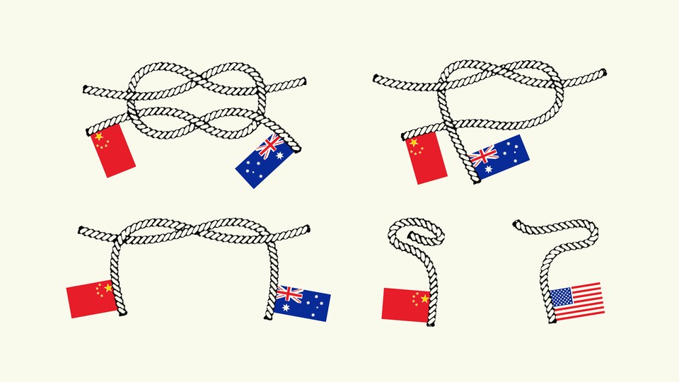 Illustration of knots with the flags of China, Australia, and the U.S.