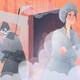 A grim reaper holding a bucket of ice sneaks up on a woman wearing a bathrobe in a steamy room