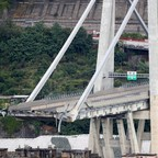 The collapsed Morandi Bridge in the Italian city of Genoa.