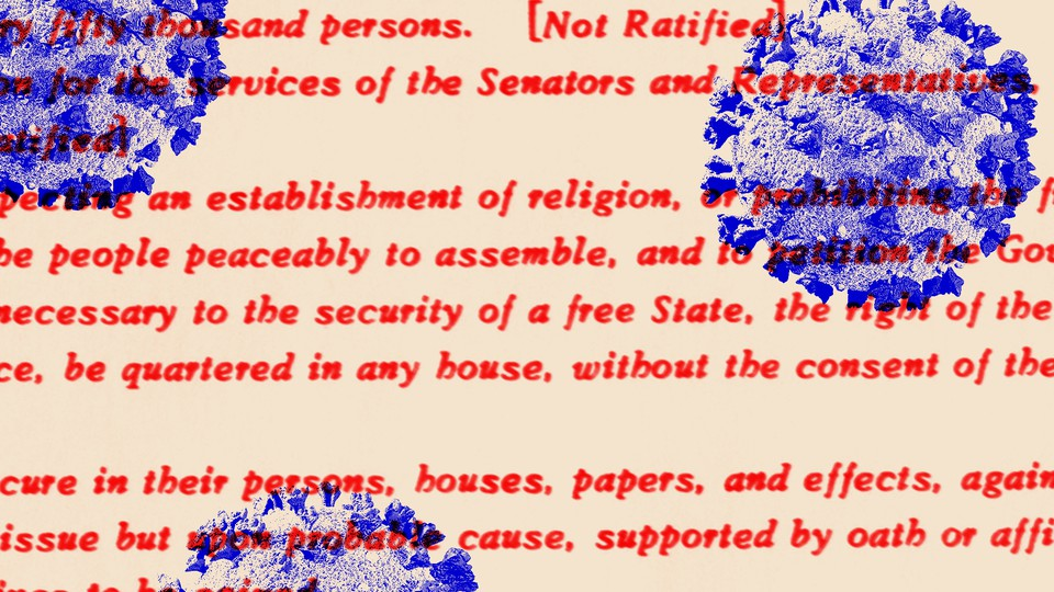 An illustration of virus particles overlaid with the text of the Constitution
