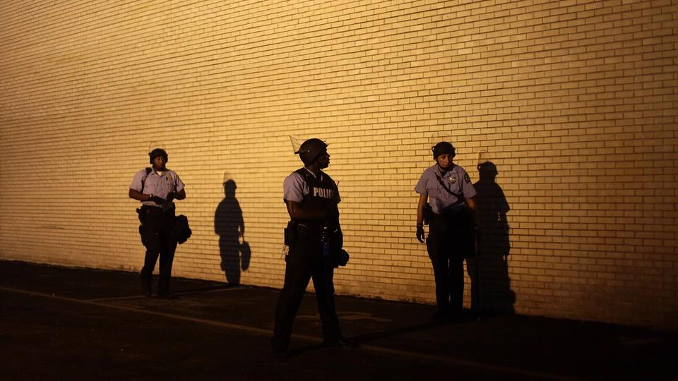Police officers in Ferguson, Missouri