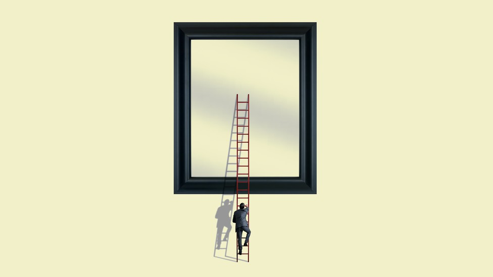 Illustration showing a man climbing a ladder to look in a large mirror
