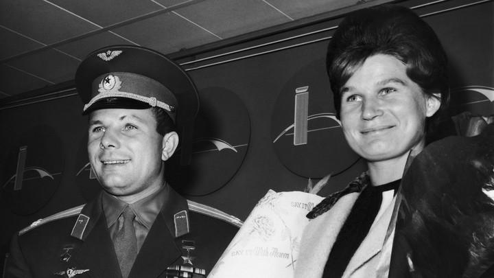 The Russian cosmonauts Yuri Gagarin and Valentina Tereshkova
