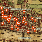 A screenshot of Cambridge University's map of murders in medieval London.