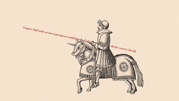 An illustration of a knight with the words of the First Amendment standing in as his spear