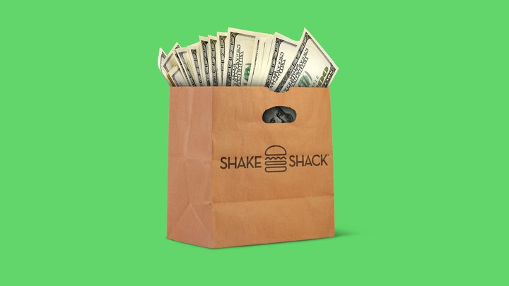 An illustration of a Shake Shack bag with money.