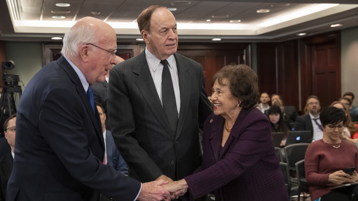 From left: Senator Patrick Leahy, Senator Richard Shelby, and Representative Nita Lowey greet one another at Wednesday's conference-committee meeting at the Capitol.