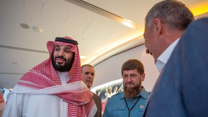 Saudi Crown Prince Mohammed bin Salman stands with Head of the Chechen Republic Ramzan Kadyrov in November 2018.