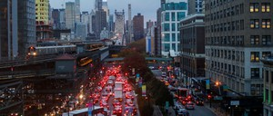 View of traffic in Long Island City, Queens, looking over the bridge to Manhattan.