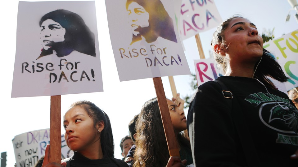 Students rallying to support DACA recipients.