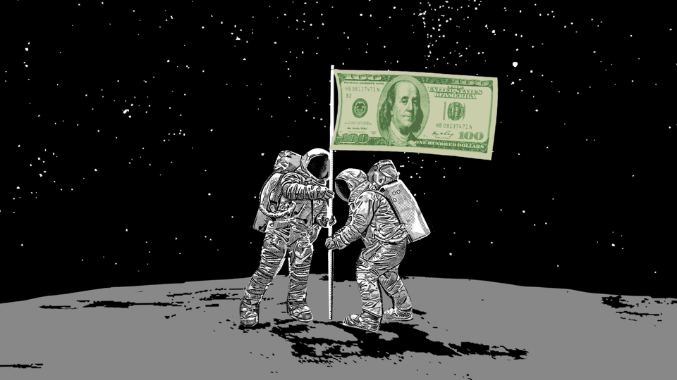 An illustration of two astronauts on the moon. They are holding a flag with a 100 dollar bill on it.