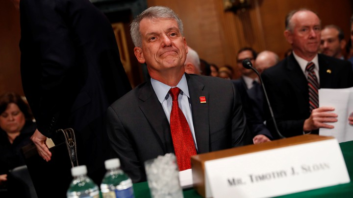 Tim Sloan, Wells Fargo's CEO, appeared before the Senate Banking Committee