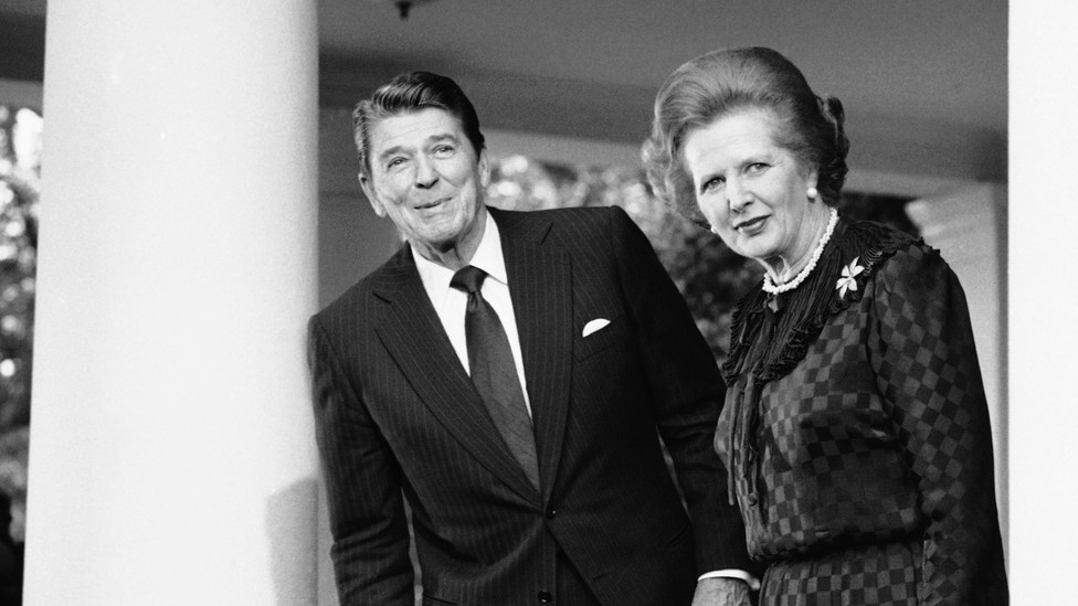 Former President Ronald Reagan and former British Prime Minister Margaret Thatcher at the White House in 1982