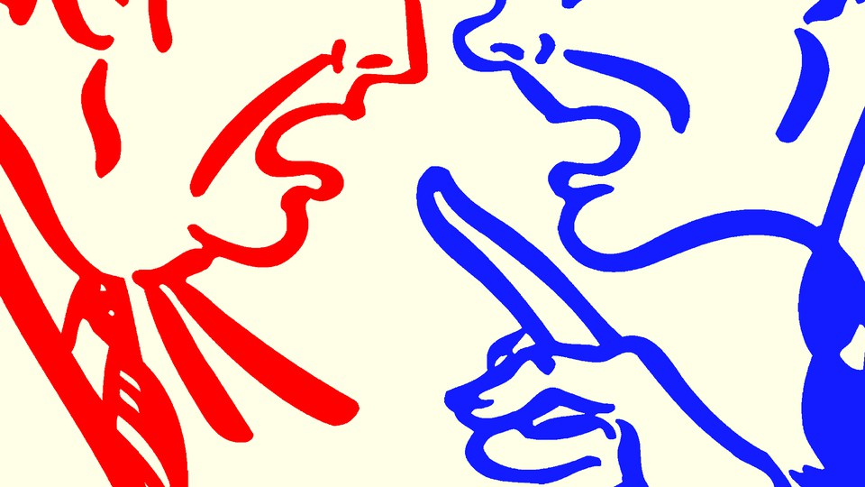 An illustration of a red person and a blue person arguing