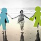 A woman on a beach holds hands with a group of her friends, who are blotted out by graphics.