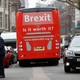 The anti-Brexit campaign group 'Is it worth it?' bus begins its eight-day tour of the U.K. outside parliament in London onFebruary 21, 2018.