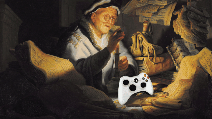 An illustration of Rembrandt's Parable of the Rich fool with a video game controller.