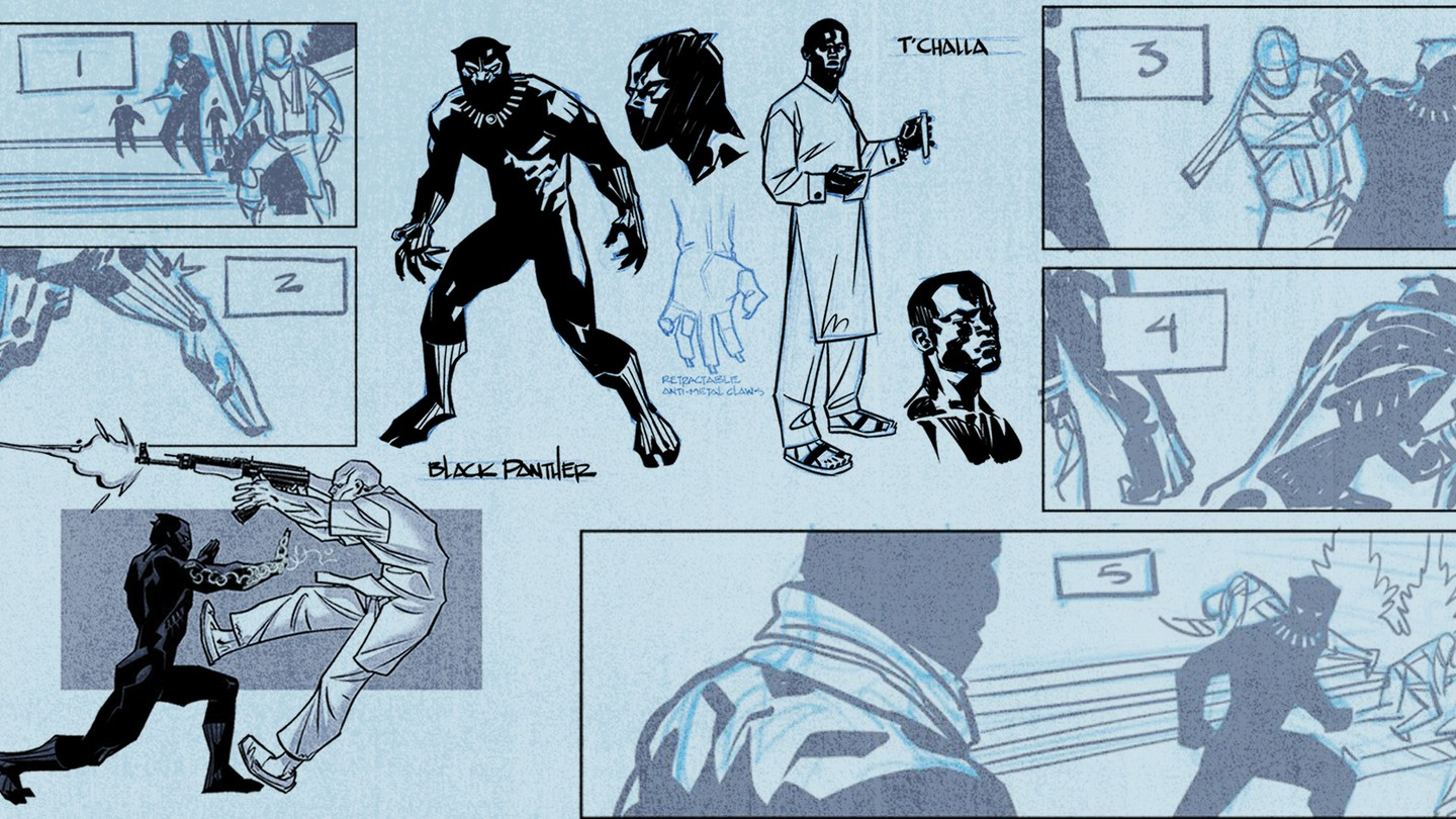 Early concept drawings of the Black Panther comic