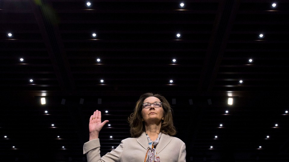 Gina Haspel is sworn in to testify at her Senate confirmation hearing in May.