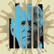 Joe Biden's head, in blue, divided into vertical slats, in front of a coronavirus